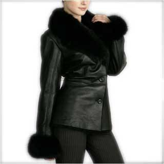 Lamb Shearling Coat with Fox Fur Trim