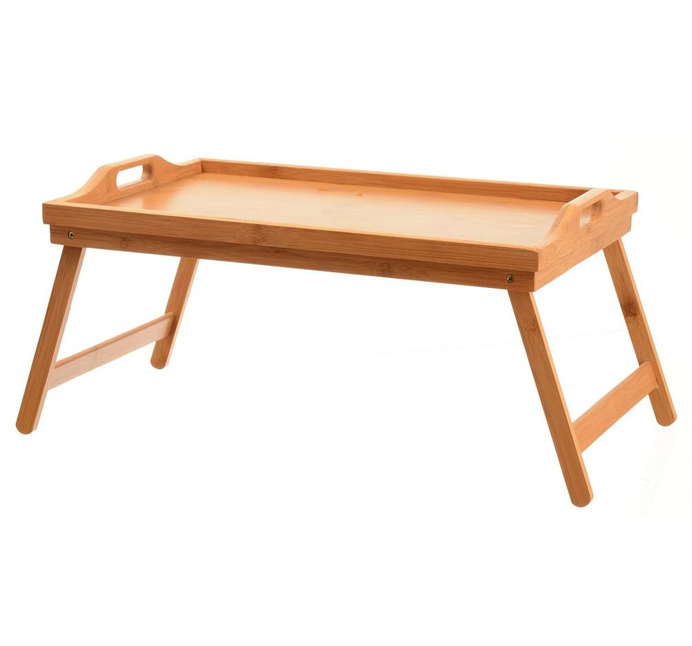 Hotel Easy Serving Dinner Foldable Lap Bed Tray Table Breakfast Tray Bamboo Wood Bed Table