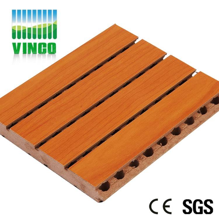 grooved acoustic wood panel wall