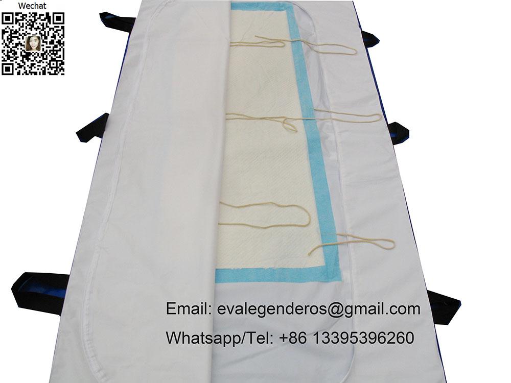 Bio Degradable medical PEVA Body Bag with 6 Hanldes