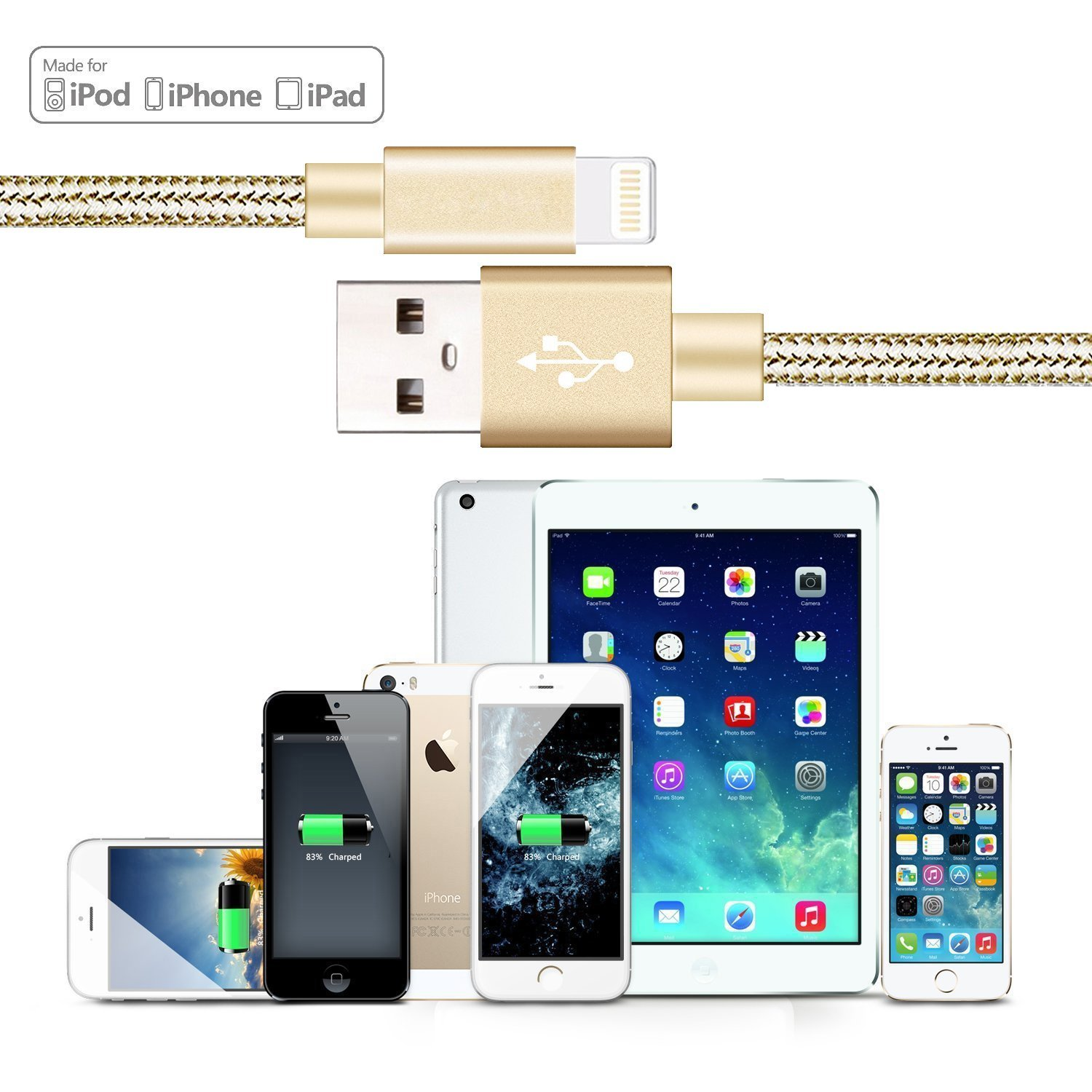 USB Syncing and Charging Cable Data Nylon Phone Charger for Phone and Smart Phone