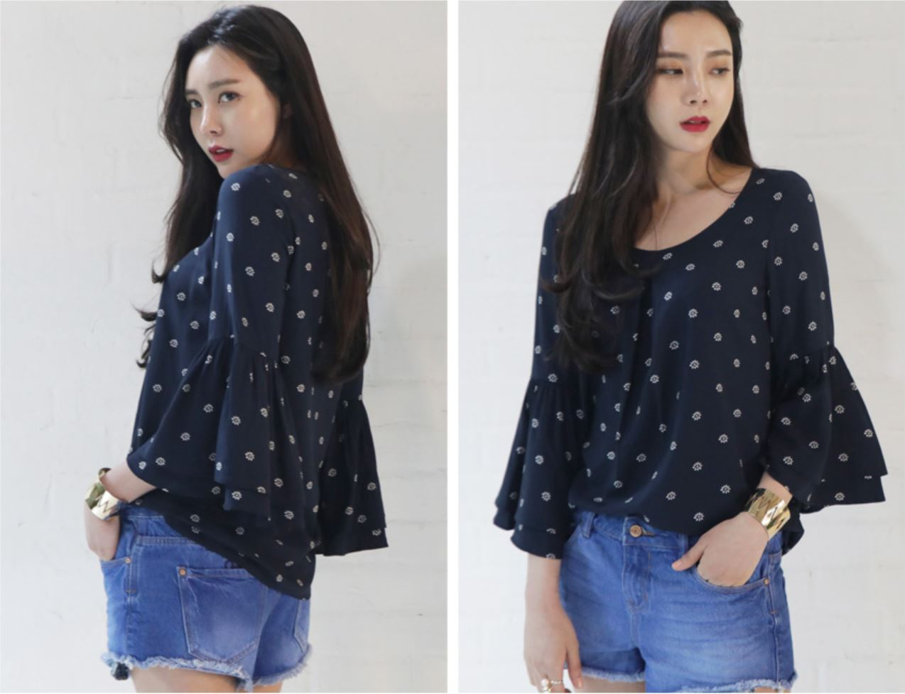 New fashion Style High Fashion Korean Ladies Cute Dual Bell sleeve blouse for women