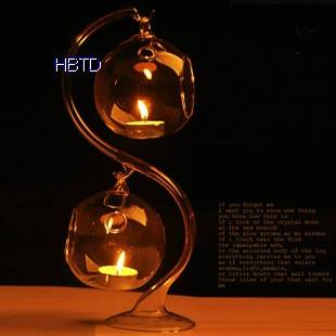 Clear Hanging S Style Glass Candle Holder XGZT031