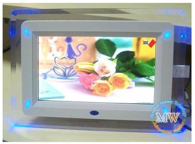 Acrylic frame 7 inch LED light digital photo frame for girls