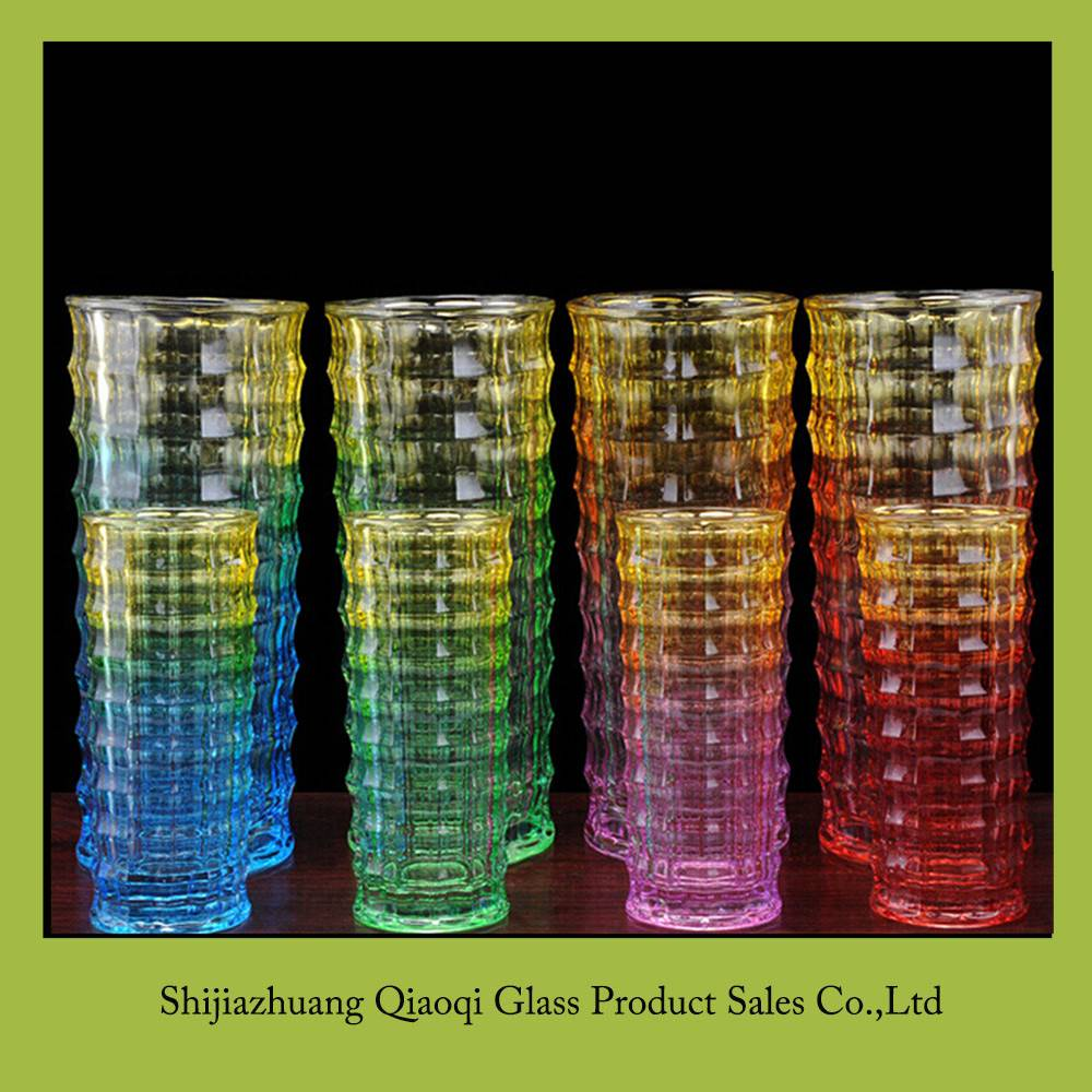 Square straight color transparent glass vase