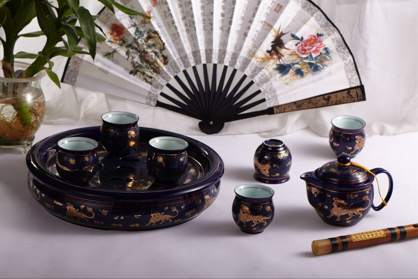 Chinese ceramic tea set with tray