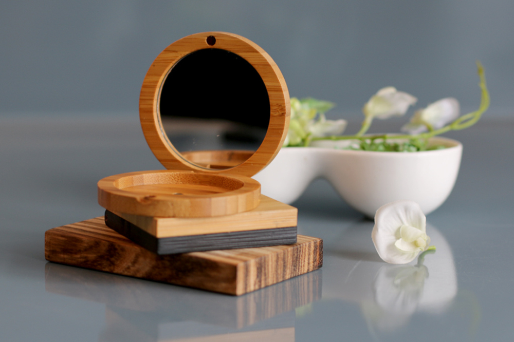 BambooFolding BoxWith Mirror For Cosmetic Powder