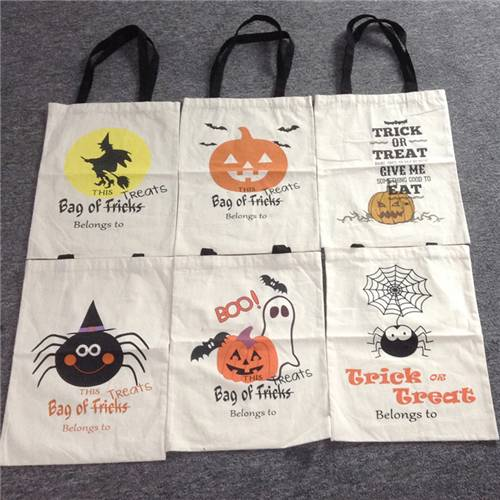 Halloween Pumpkin Witch Canvas Shopping Tote Bag