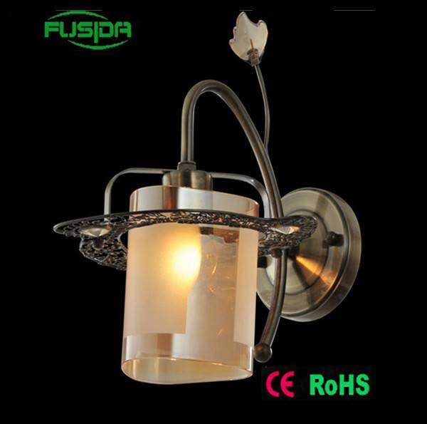 High quality antique 1 light glass gold wall lamps/light for home and hotel