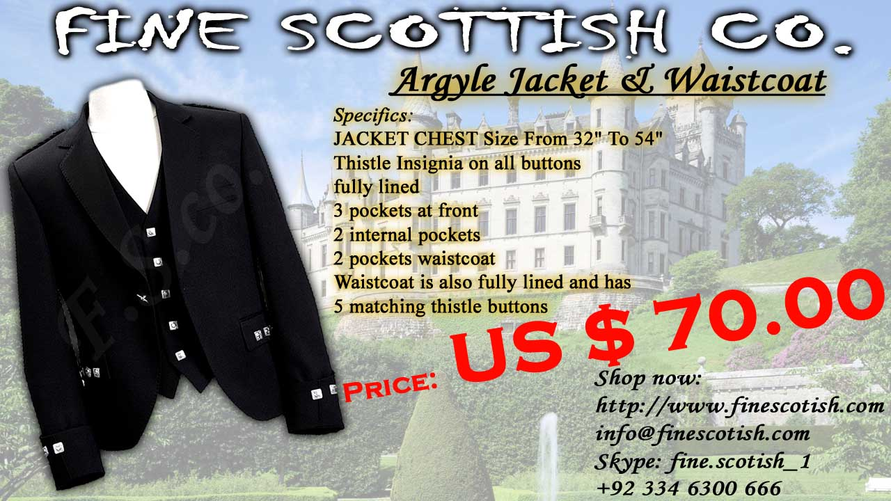 Argyle/Argyll Jacket & Vest/Waistcoat, Kilt Jacket