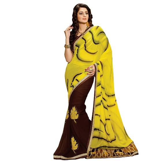 Shonaya Yellow & Brown Colour Georgette Embroidered Sarees With Blouse PieceSGDN2-4855