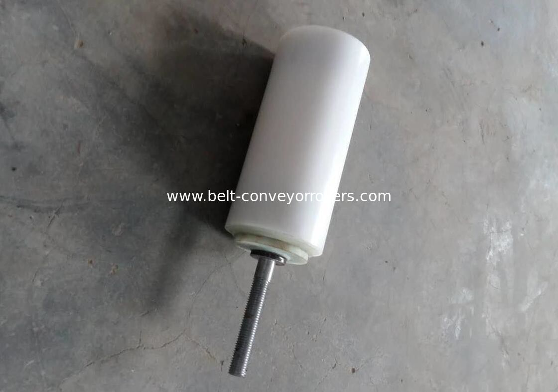 White UHMW-PE Conveyor Guide Rollers Dia 89x160mm Nylon Bearing Housing For Elevator