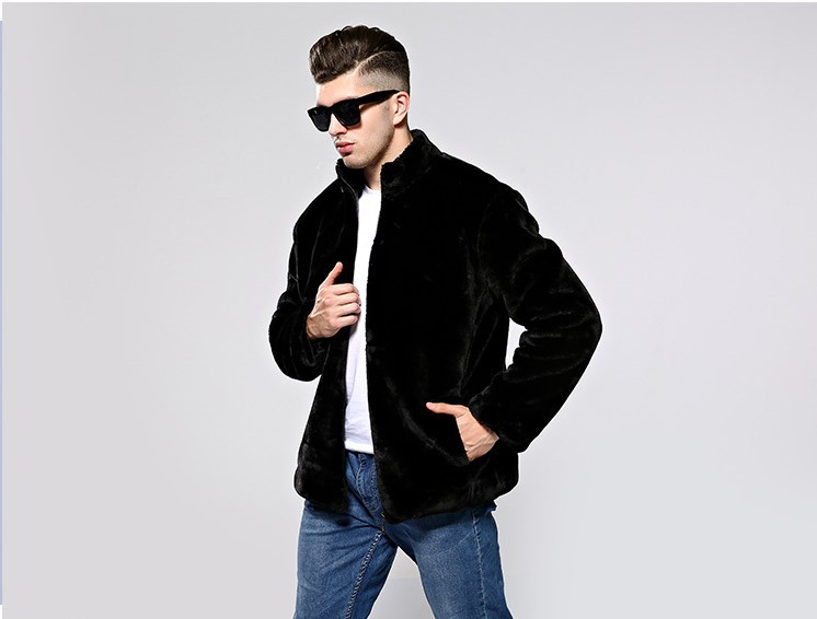 3 Colors Men Artificial Fur Jacket