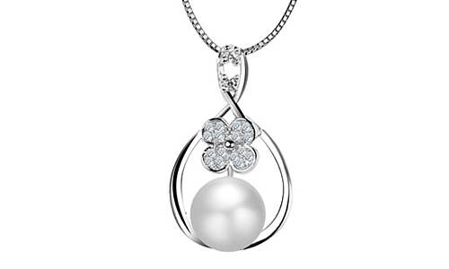 Flower Shape Inlay Pearl Sterling Sliver Necklace Pendant