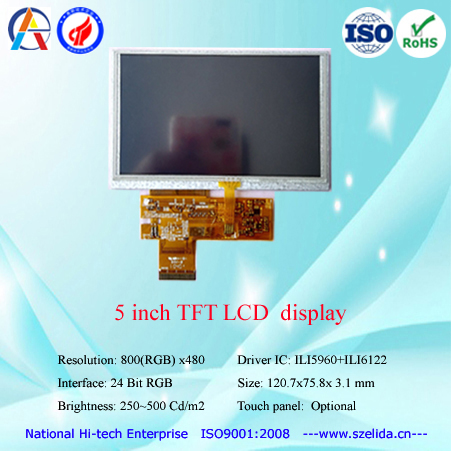 Factory wholesale 5 inch TFT lcd module 800x480 or 720x1280 or 640x480