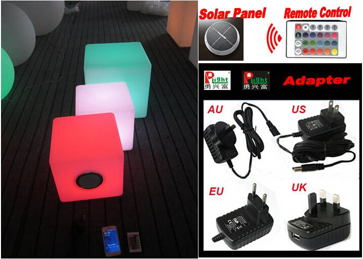 Led light cube with bluetooth stereo & remote