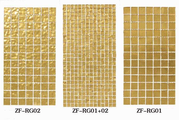 ZF-RG 24k real gold bottom glass mosaic tiles wall or pool decoration