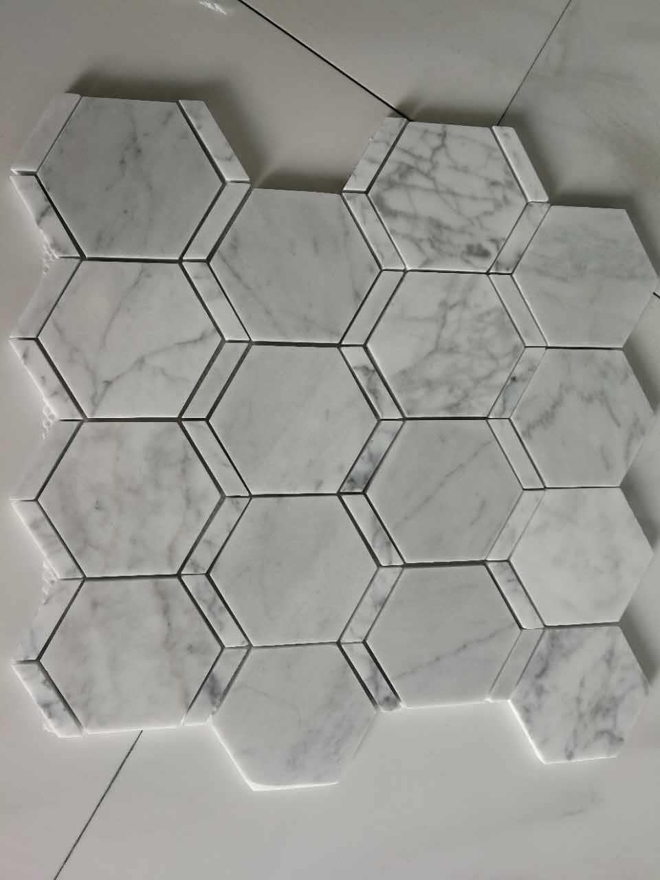 hexagon white marble mosaic tile for bathroom