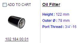 oil filter 102 184 0001
