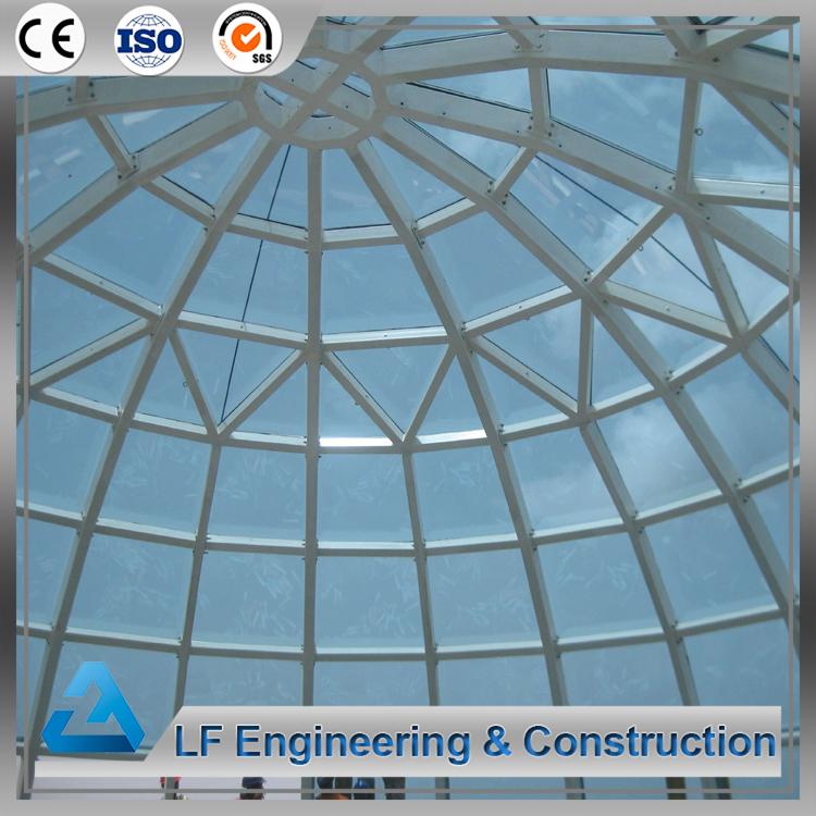 Prefab steel frame atrium dome glass roof