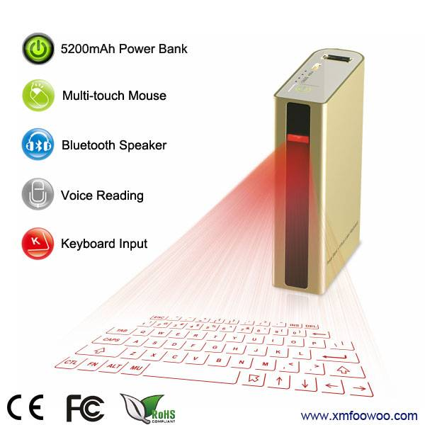 2015 new wireless laser projection keyboard with power bank for Ipad/ tablet PC/Iphone
