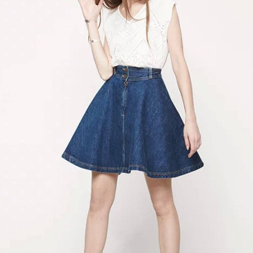 Denim Jeans Prom Flippy Skirt Midi High-waisted Retro Chic Women's Fashion