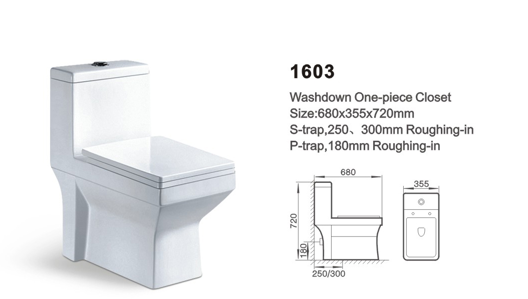 Item NO.1603 washdown one-piece toilet
