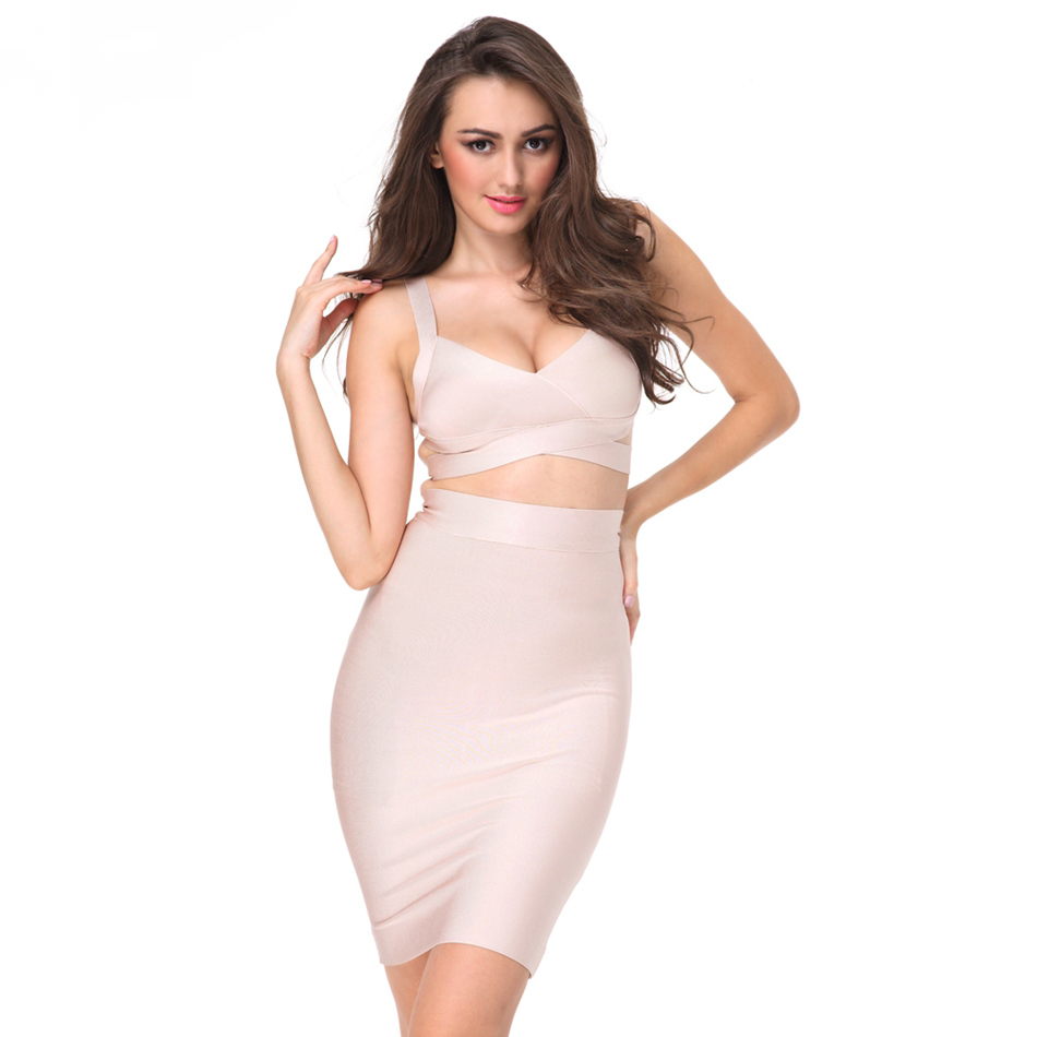 Two Piece Sexy Hip Bodycon Bandage Prom Casual Dress