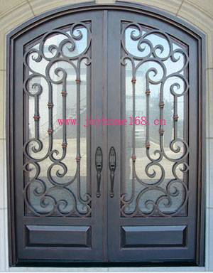 Wrought iron decorative exterior double entry door design