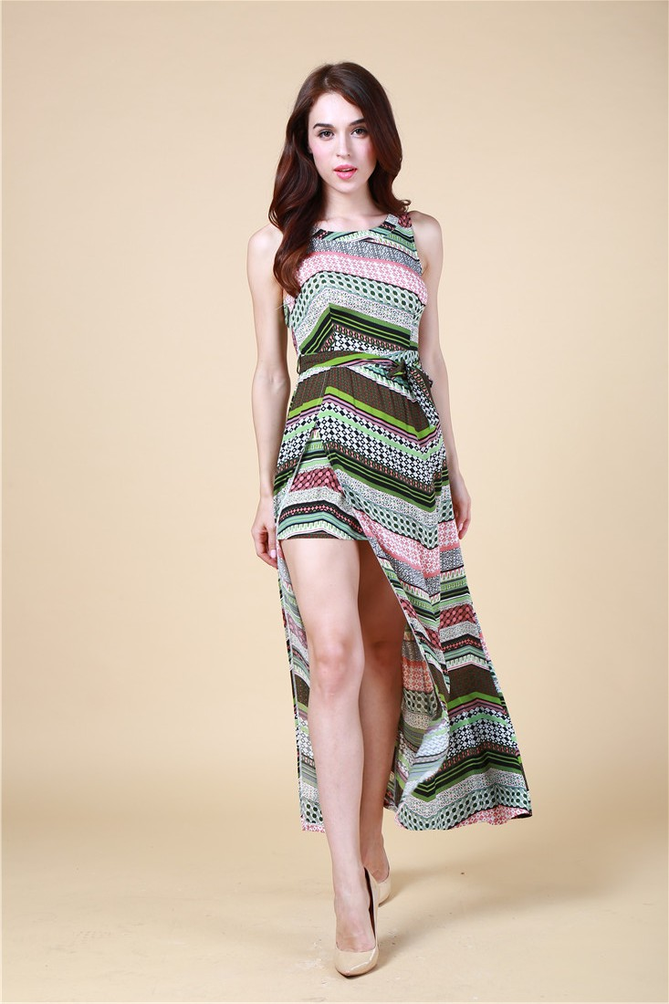 BY570 100% Viscose Fashion Womens Casual /Glamour Beach Vented Dresses