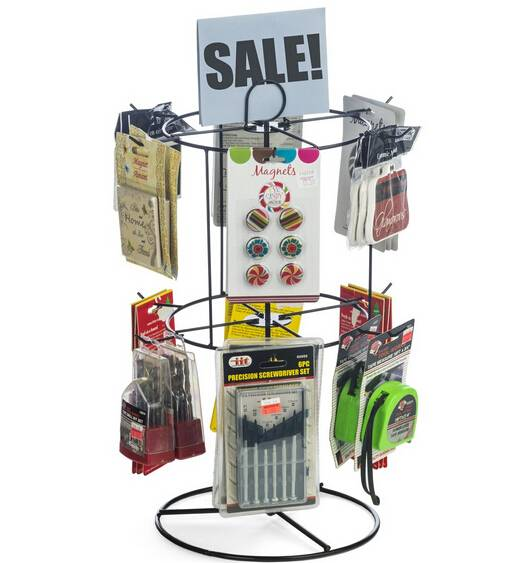"Counter Spinner Rack w/ Sign Holder, 2 Tiers, (12) 2.125"" Hooks - Black"