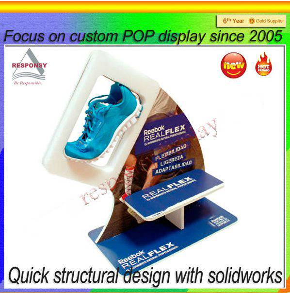 Professional factory manufacturer clear acrylic shoe display stand