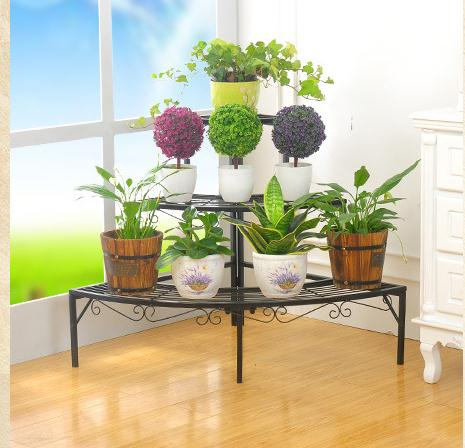 Big size 3 layers sector 90 degrees right angle Wrought iron flower pots/planters stands shelf perfe
