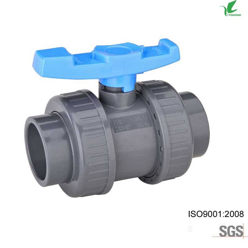UPVC DOUBLE UNION BALL VALVES JIS,DIN,ASTM,BSPT AND NPT