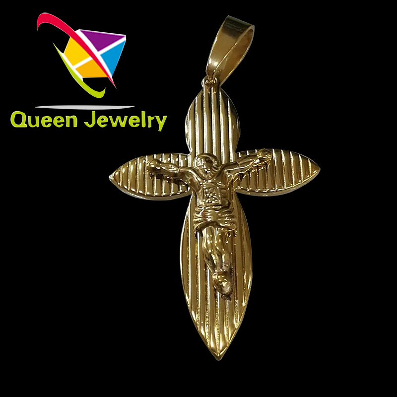 Men's Stainless Steel Jesus Christ Cross Pendant Necklace gold Plated Crucifix jewelry