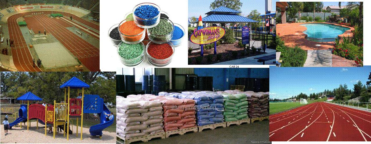 EPDM granules size & application 0.5-1.5mm, 1-3mm,1-4mm,0.5-2.5mm Sports/Playground flooring