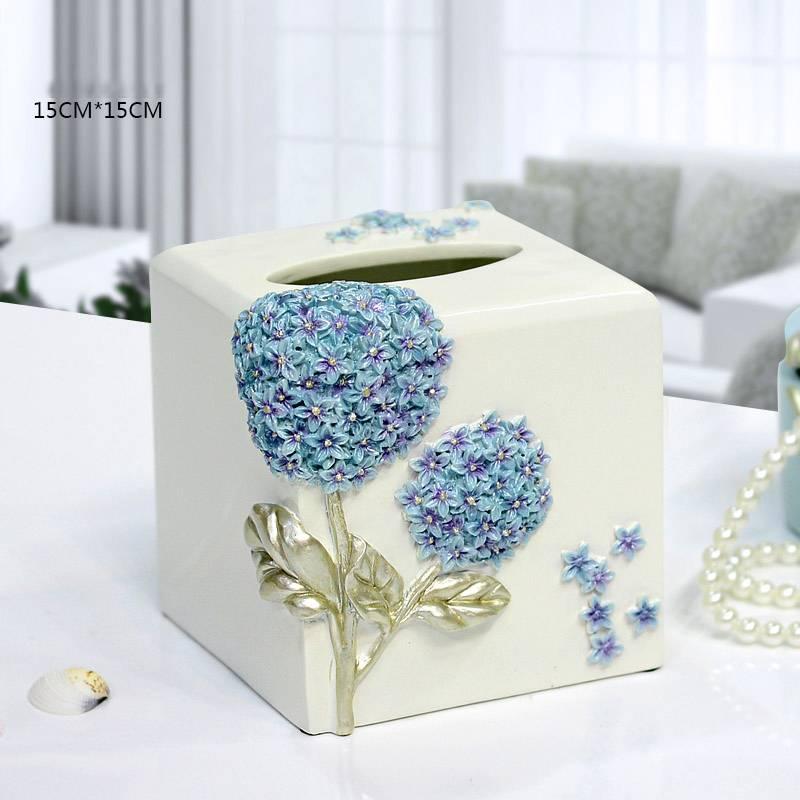 home decoration round resin tissue box