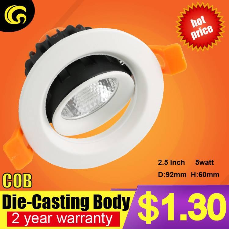 1.4 usd per set COB 5W led downlight