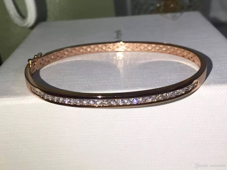 NEFFLY New Arrival High Quality Single row of Diamond Bracelet Bangle Bracelet S925 Silve 18K gold.
