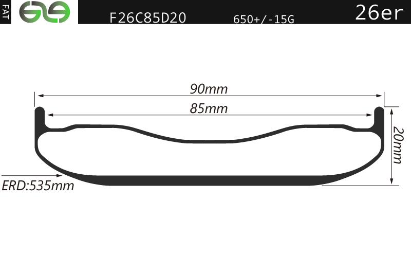 F26C85D20 26er fat bike rim 90mm wide carbon for winter commuting, plus carbon rim tubeless compatib