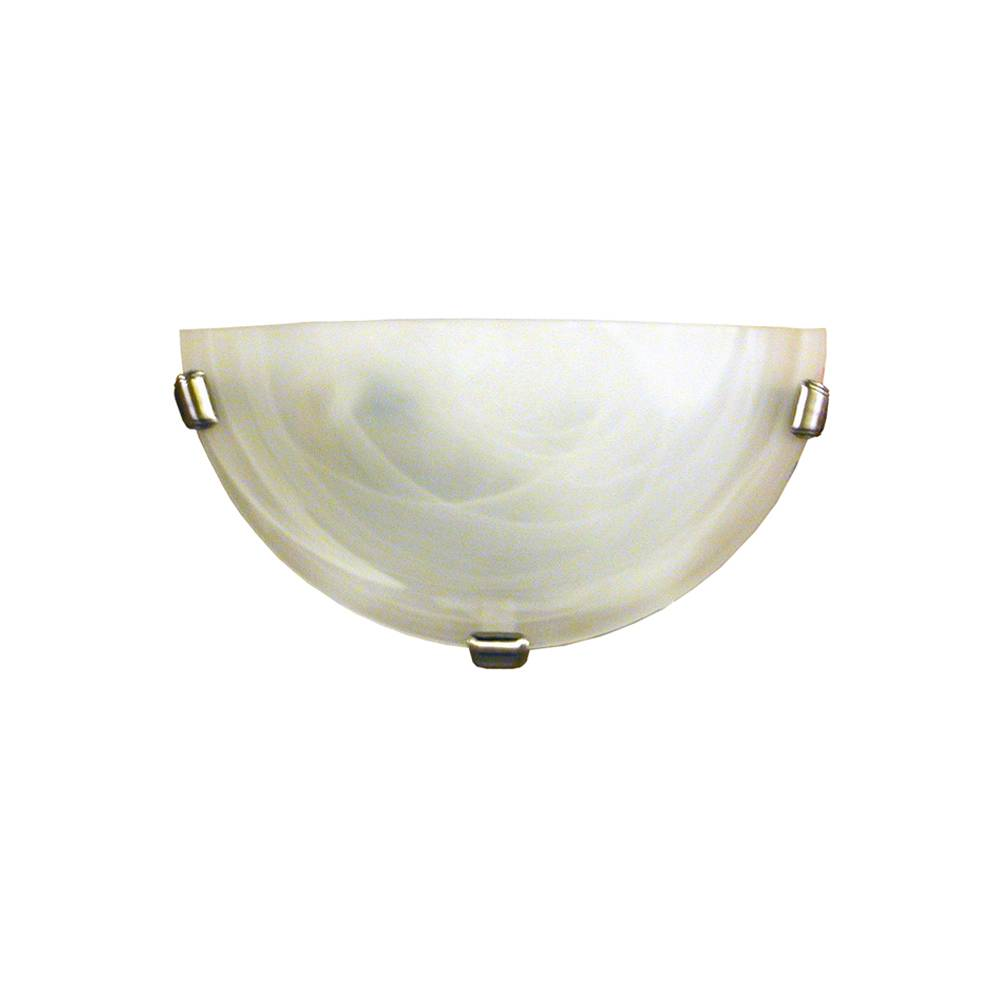 1 light wall sconce in satin steel finish clips with a classic acid wash glass shade