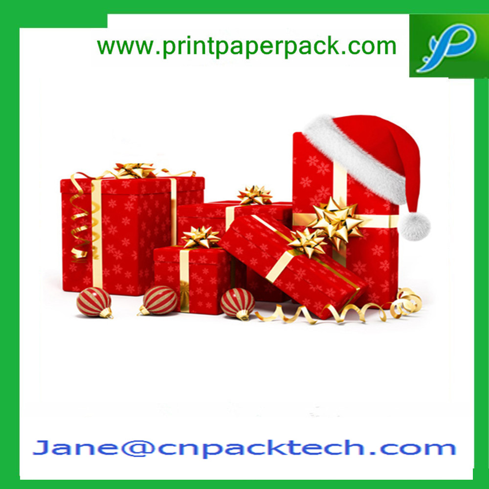 Custom Ribbon Gift Packaging Box Rigid Cardboard Boxes Christmas Gift Boxes