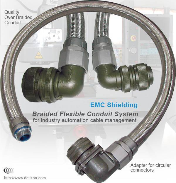 EMc shield and antistatic SS OVER braided flexible metal conduit