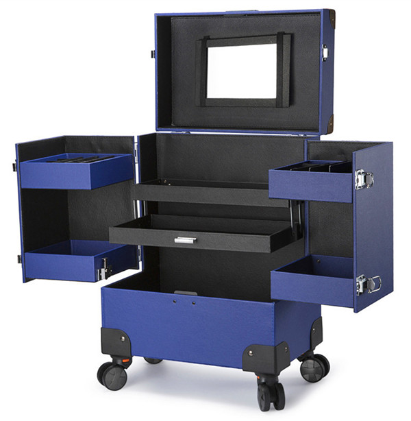 Professional Makeup Trolley Case with Drawers and Wheels/ Aluminum Trolley Train Case Portable Makeu