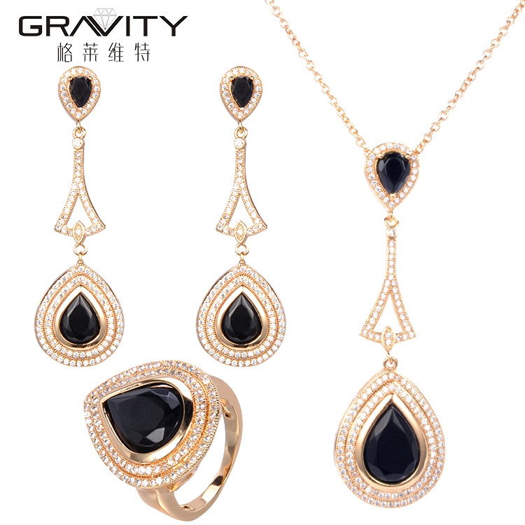fashion real gold necklace jewelry set dubai for women