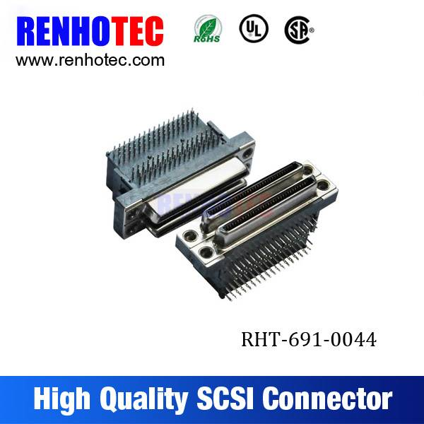 VHDCI 68 Pin 0.8mm Pitch 90 Degree Dual Male SCSI Connectors PCB Mount