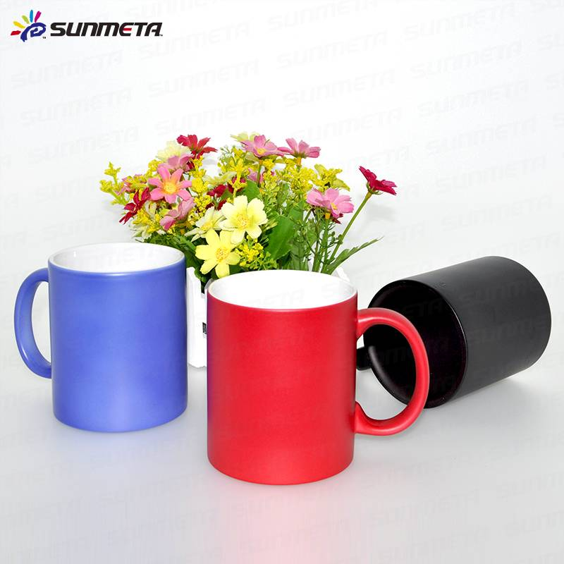 whole sale sublimation matte 11oz hot water color changing mug