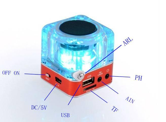 flash cube speaker with usb wireless speaker mp3 player loudspeaker music speaker ,musc player