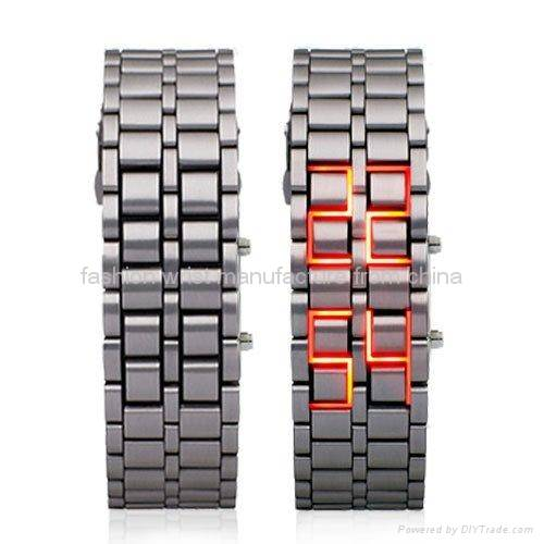 Iron Samurai Japanese Inspired Red LED Watch FW-804