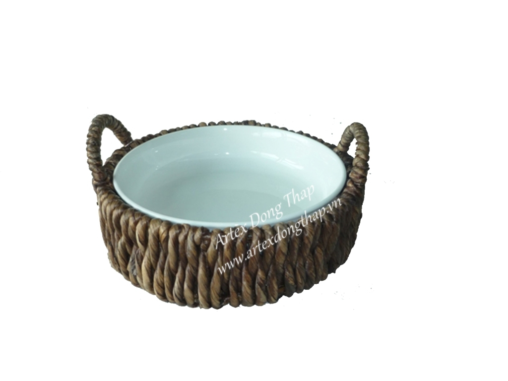 Water hyacinth tray with ceramic inside - SD2562A-1BR05